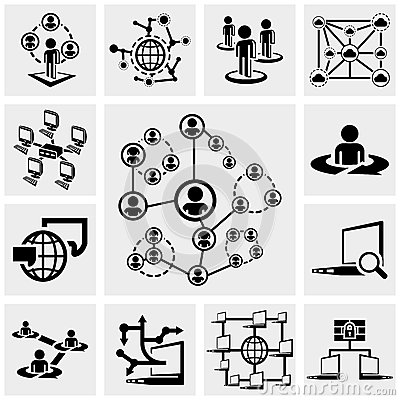 Network vector icons set on gray