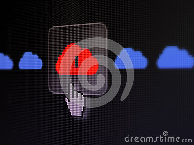Networking concept cloud with keyhole on digital royalty free stock