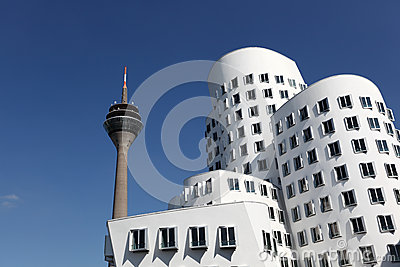 Neuer Zollhof buildings in Dusseldorf Editorial Photo