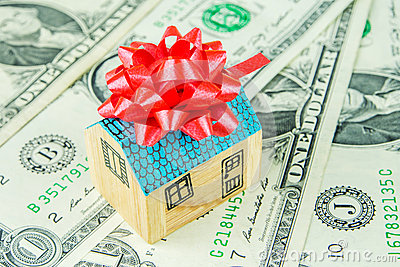 neues haus als geschenk stockfoto bild 60223535. Black Bedroom Furniture Sets. Home Design Ideas