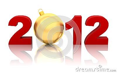 Neues Jahr 2012 mit goldener Weihnachtskugel