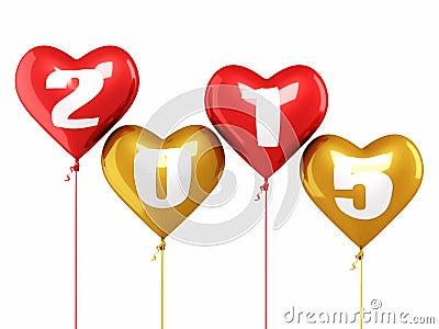 Neues jahr 2015 und bunte herzballone übertragen lokalisiert auf