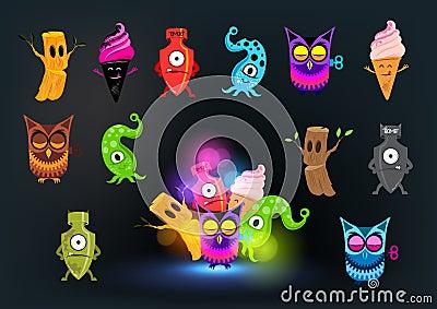 Neugierige Monster-Ansammlung