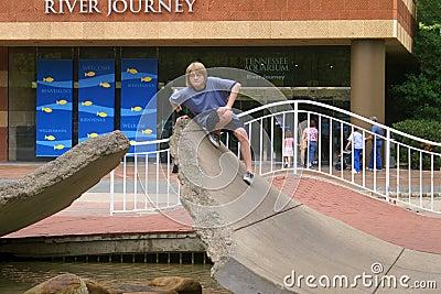 Neugieriger junger Junge an Tennessee-Aquarium Redaktionelles Stockfoto