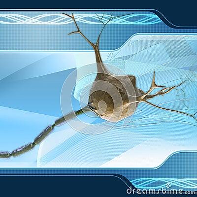 Neuron on digital background