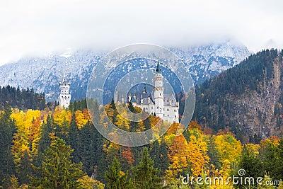 Neuschwanstein castle in Germany in autumn