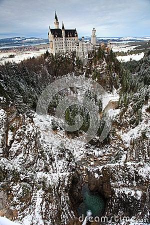 Neuschwanstein castle in Germany wide angle