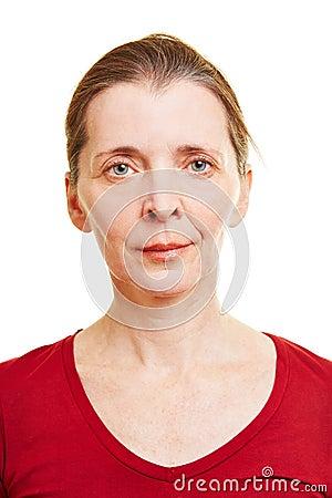 Neutral frontal female senior face
