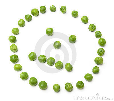Neutral looking face from peas