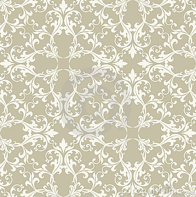 Neutral Taupe Damask
