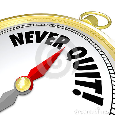 Never Give Up Gold Compass Words Determination