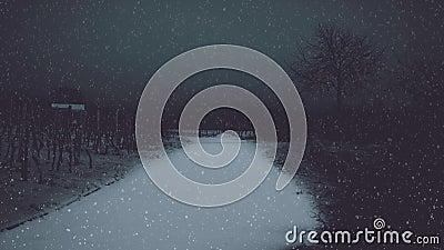Nevicando nel paesaggio scuro illustrazione vettoriale