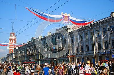 Nevsky prospect on the City Day celebration Editorial Image