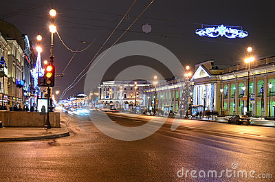 Nevsky Prospect in evening illumination Editorial Stock Image