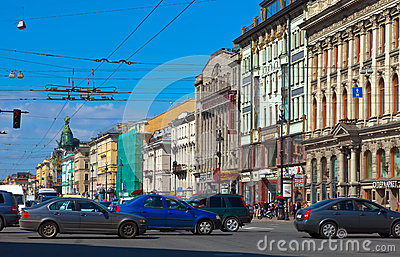 Nevsky Prospect in Saint Petersburg Editorial Photography