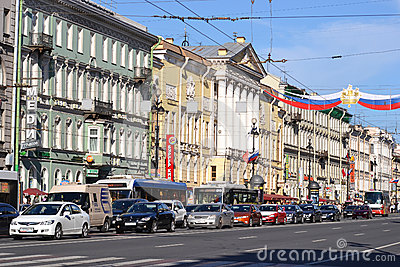 Nevsky Prospect, Saint Petersburg, Russia Editorial Photography