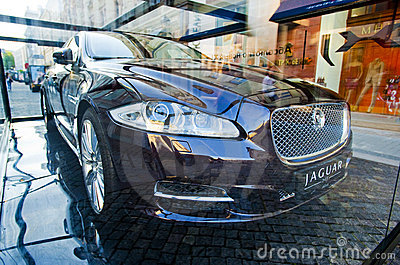 New 2010 Jaguar XJ  presentation in Moscow Editorial Photography
