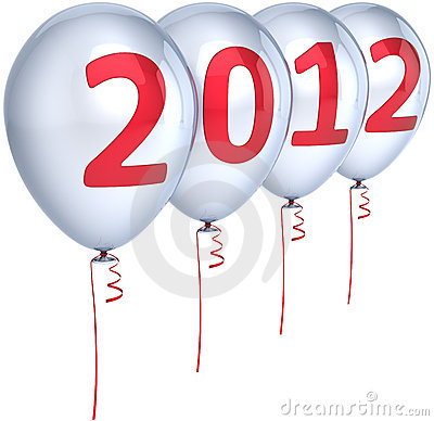 New 2012 Year balloons decoration white