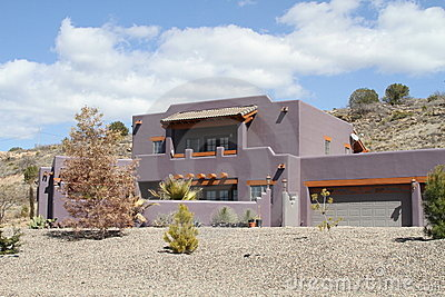 USA, Arizona: New Adobe House in a Desert