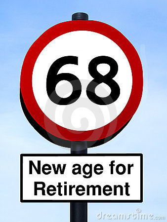 New age for retirement 68 roadsign