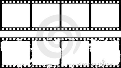 New and aged filmstrip frame