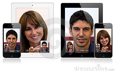 New Apple iPad 2 and iPhone 4 video calling Editorial Stock Image