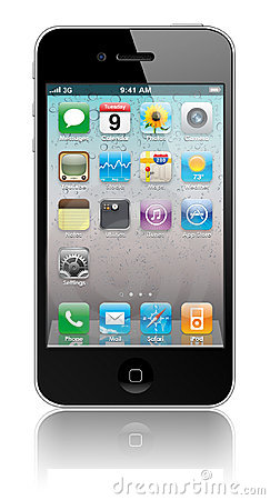 New Apple iPhone 4 with icons inside Editorial Stock Image