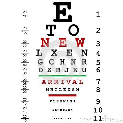 New arrival advertising with optical eye test