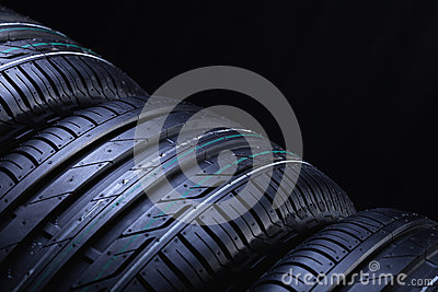 New automobile tires closeup