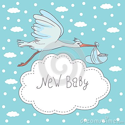 New baby, stork flying with baby
