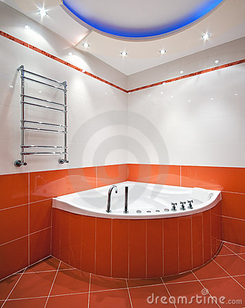 New bathroom in orange colors