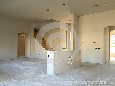 Interior of a new house under construction Stock Photo