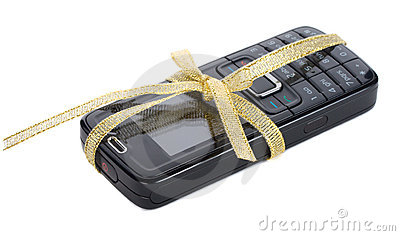 New black mobile phone with gold ribbon