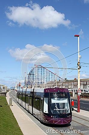 New Blackpool Tram near Pleasure Beach. Editorial Photo
