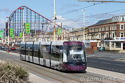 New Blackpool Tram near Pleasure Beach. Editorial Stock Photo