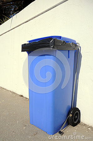 New blue rubbish bin, Spain.