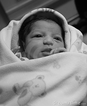 New born asian baby girl s black and white image