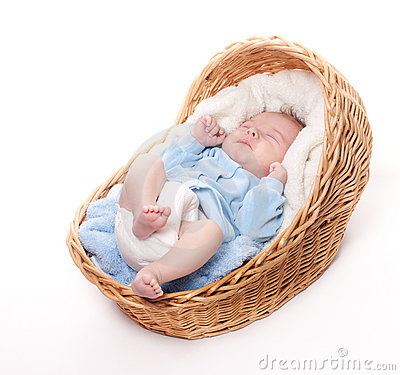 Free New Born Baby Sleeps In Basket Stock Photo - 17712290