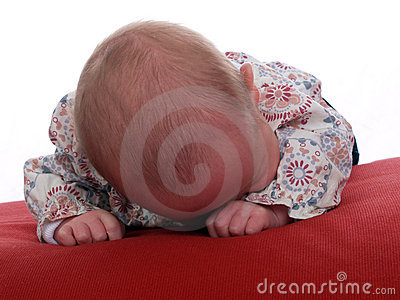 New born infant caucasian face down red pillow