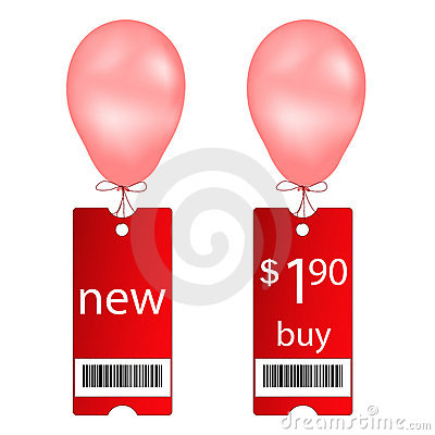 New and buy tags with fly balloon