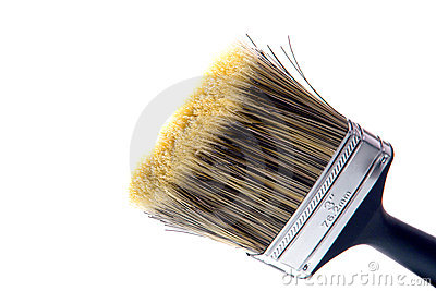 New Clean Paint Brush ready for Painting on White