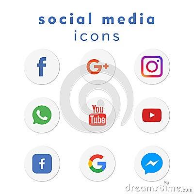9 new logo-icons social media (vector) Vector Illustration