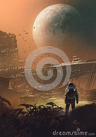 A new colony on the moon Cartoon Illustration