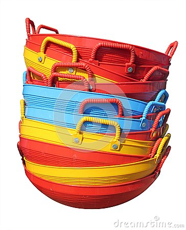Free New Colorful Plastic Baskets Isolated On White Royalty Free Stock Photo - 25097995