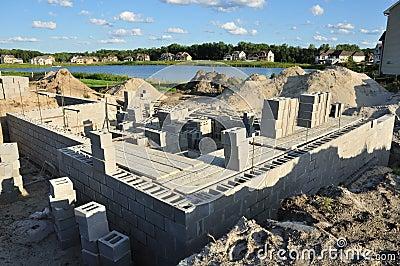 New construction, foundation walls concrete blocks