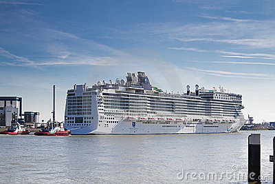 New cruise ship leaving Rotterdam, June 21-2010 Editorial Photography