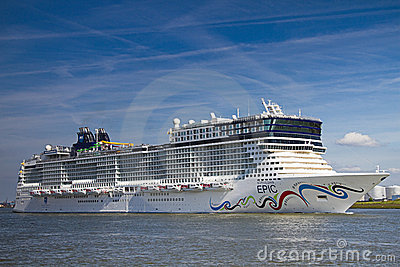 New cruise ship leaving Rotterdam, June 21-2010 Editorial Stock Photo