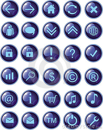 New dark blue web icons, buttons
