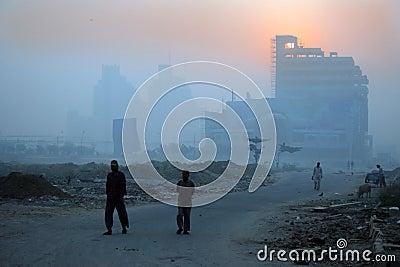 New delhi winter mornings and foggy haze, india