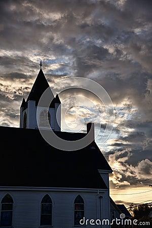 New England Church Sunset